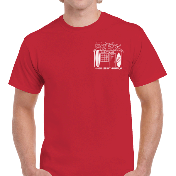 Fairfax Surf Shop Old School Red-White Tee